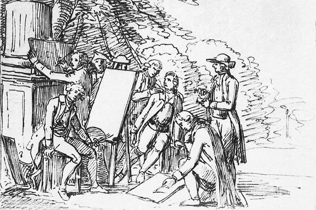 Een van de tekeninigen van Goethe