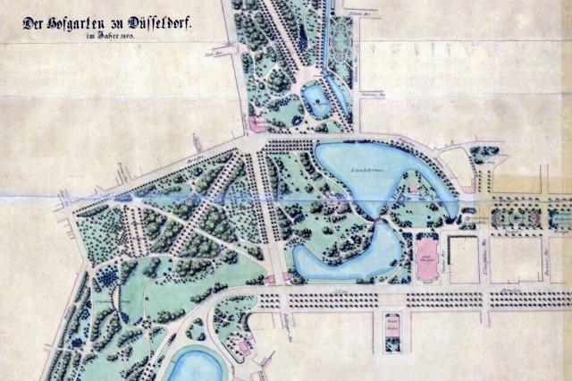 Een plattegrond van de Hofgarten uit het einde van de 19e eeuw