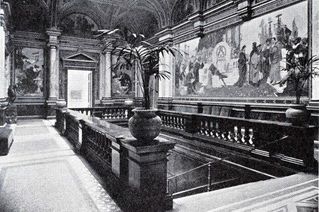 Het interieur van de in de oorlog verwoeste Alte Kunsthalle