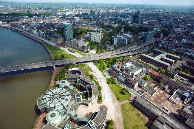 Uitzicht op het centrum van Düsseldorf