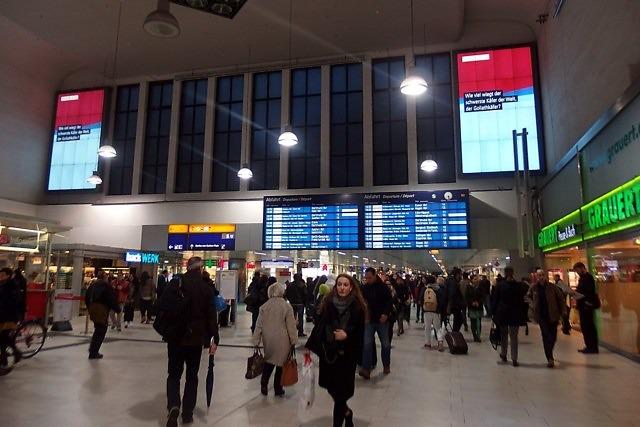 Op het station van Düsseldorf